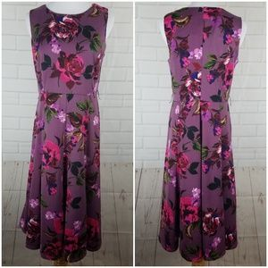 Sleeveless Fit & Flare Purple Floral Dress